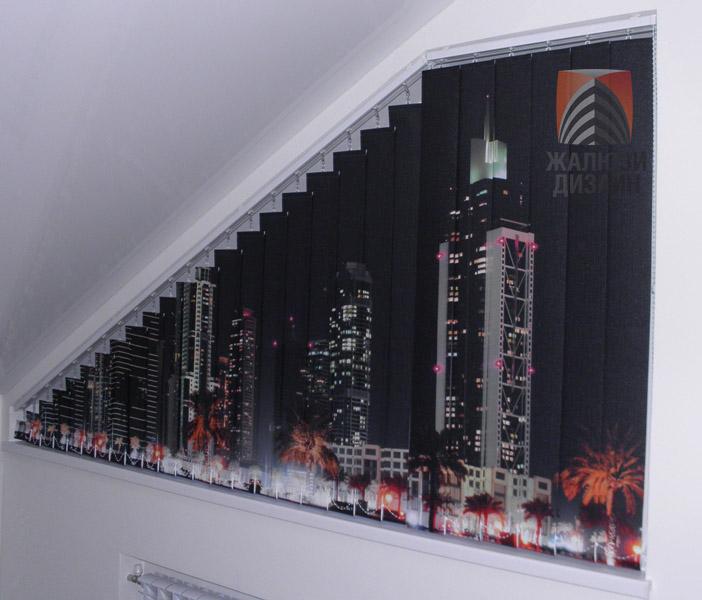 Косые вертикальные жалюзи с фотопечатью ночной город