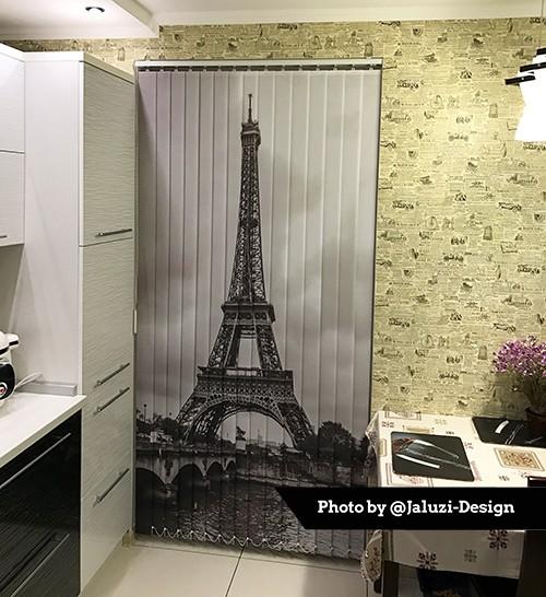 Вертикальные фотожалюзи на кухне с изображением эйфелевой башни на кухне
