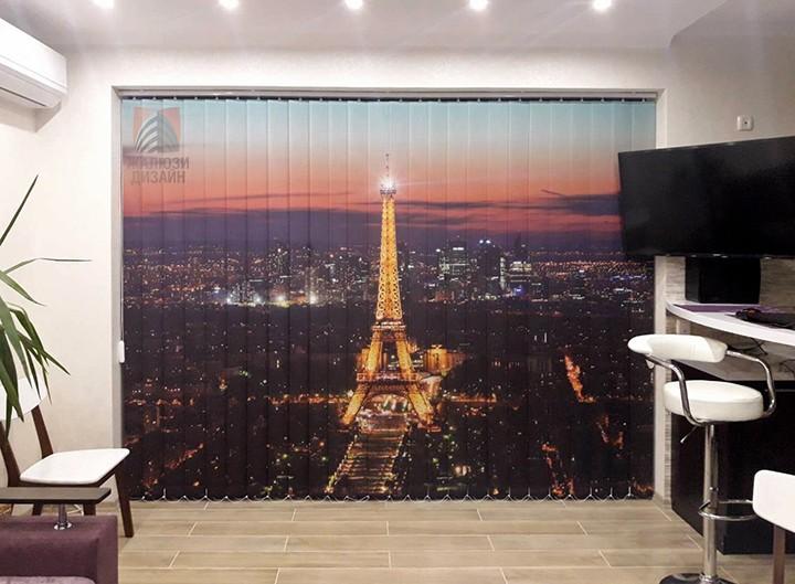 Вертикальные жалюзи с фотопечатью Эйфелева башня для кухни